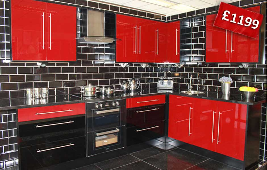 Red Kitchen With High Gloss Finish